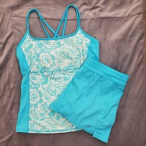 Land's End blue tankini and shorts